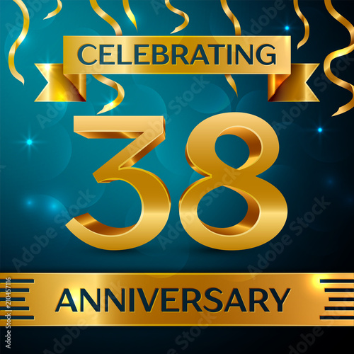 Papel de parede  Realistic Thirty eight Years Anniversary Celebration Design