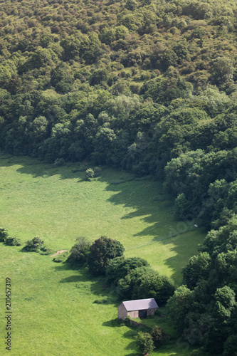 Fotografering Small Hut (Shed) Surrounded by Trees in a Valley