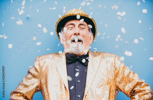 Obraz Grandfather portraits on colored backgrounds - fototapety do salonu