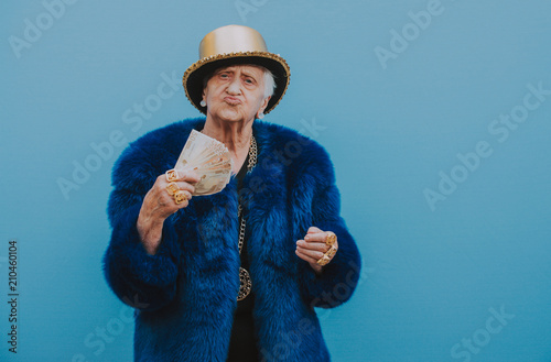 Grandmother portraits on colored backgrounds Fototapet
