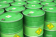 canvas print picture - Group of rows of green stacked biofuel drums in storage warehouse