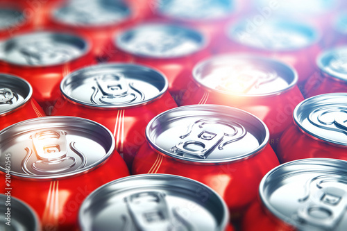 Metal cans with cola refreshing drinks