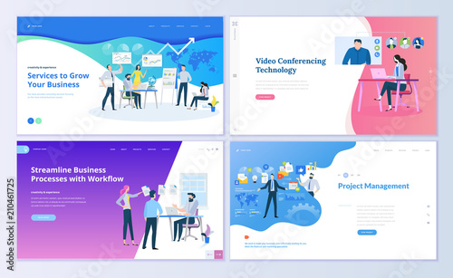Cuadros en Lienzo  Set of web page design templates for business