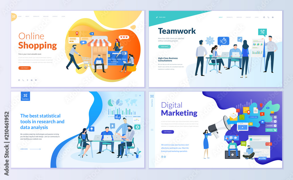 Fototapeta Set of web page design templates for online shopping, digital marketing, teamwork, business strategy and analytics. Modern vector illustration concepts for website and mobile website development.