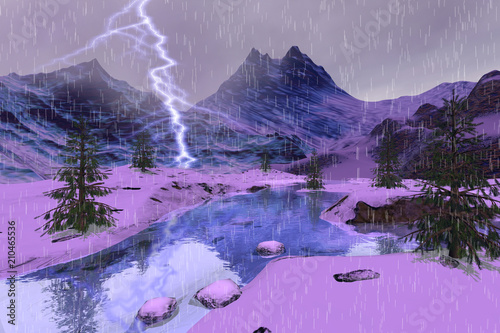 Rain and lightning in the river, a winter landscape, snowy mountains and coniferous trees.