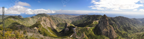 Leinwand Poster Mountains on the island La Gomera on the Canary Islands in Spain - in the backgr