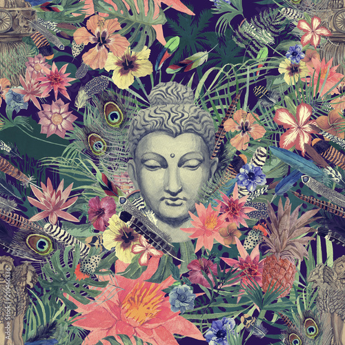 Fotografía Seamless hand drawn watercolor pattern with buddha head, ganesha, flowers, leaves, feathers, flowers