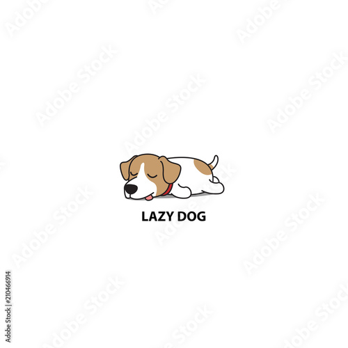 Fotografie, Obraz  Lazy dog, cute jack russell terrier sleeping icon, vector illustration