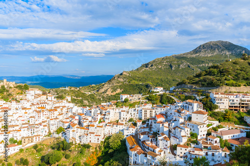 Photo View of Casares mountain village with white houses at early morning, Andalusia,