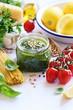 Pesto.Traditional italian homemade pesto dip. Selective focus