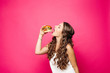 canvas print picture - Hungry girl with opened mouth eating big hamburger.