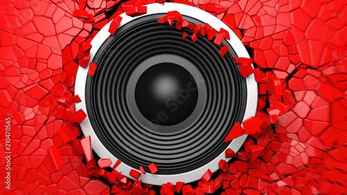 Obraz na płótnie Czarny głośnik na czerwonym tle pękniętej ściany. Ilustracja 3D
