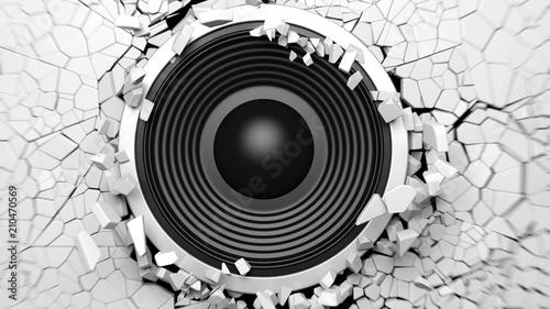 Black Sound Speaker On White Cracked Wall Background 3d
