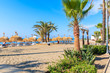 Palm trees and sunbeds on beautiful beach near Marbella, Andalusia, Spain