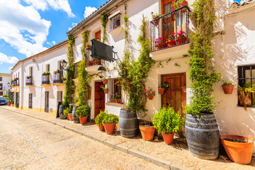 Wine shops and restaurants on narrow street in white Andalusian village with typical Spanish architecture, Zahara de la Sierra, Spain