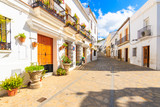 Fototapeta Uliczki - Narrow street with houses in white Andalusian village with typical Spanish architecture, Zahara de la Sierra, Spain