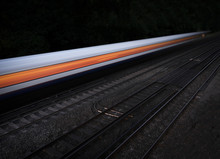 Speeding Fast Train On An Isolated Black Background
