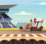 Formula one racing car on racetrack