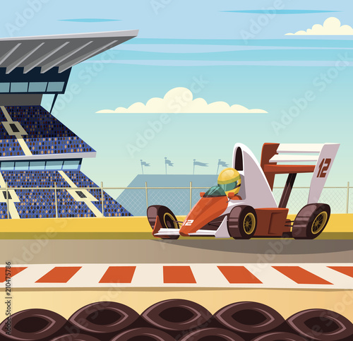 Formula one racing car on racetrack Canvas-taulu
