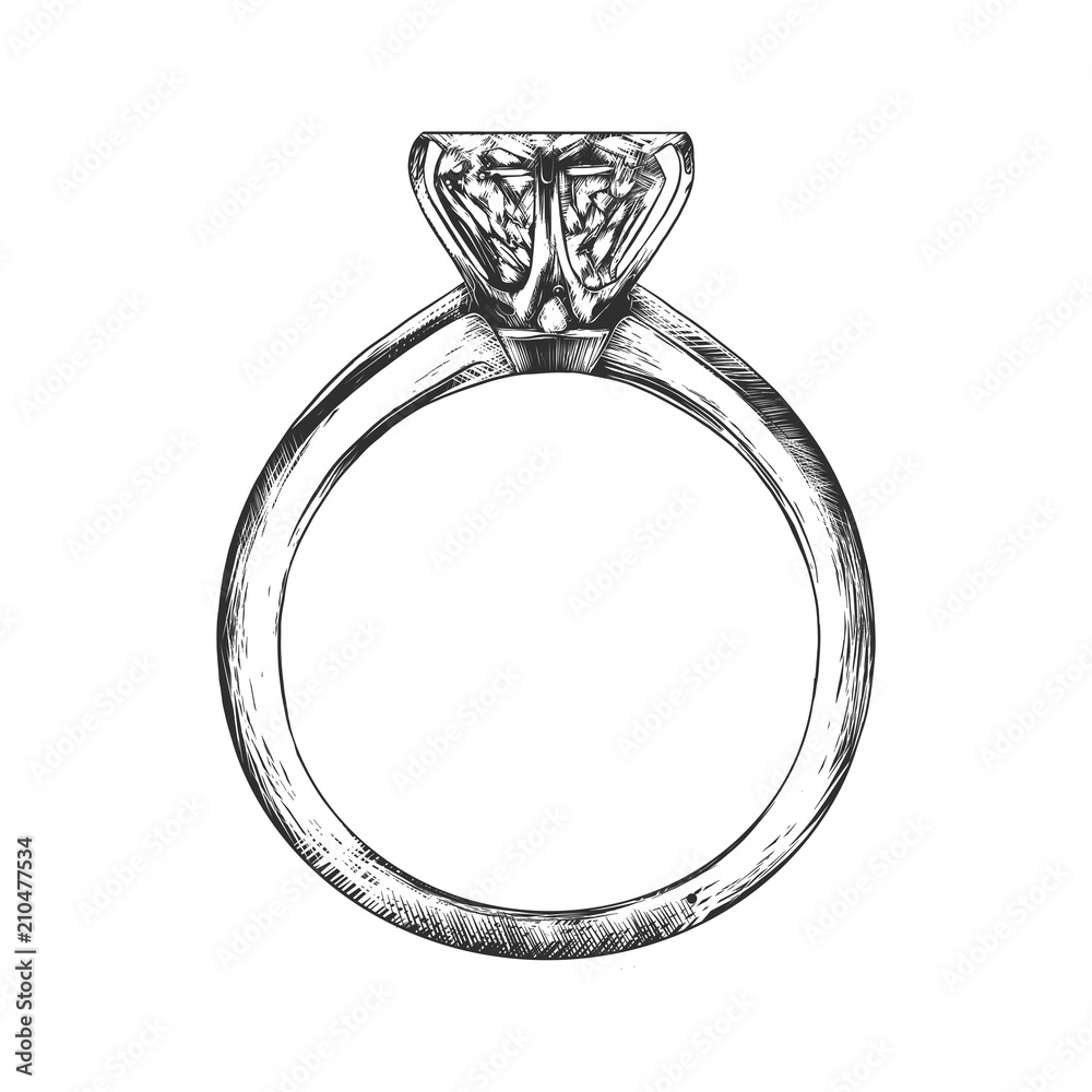 Fototapety, obrazy: Vector engraved style illustration for posters, decoration and print. Hand drawn sketch of engagement ring in monochrome isolated on white background. Detailed vintage woodcut style drawing.