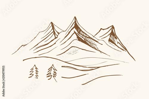 Fototapeta Pejzaż ze szczytasmi górskiemi obraz