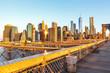 manhattan view, dumbo, city, new, manhattan, brooklyn, bridge, architecture, york, dumbo, america, building, skyline, sunset, New York city, landmarks, street photo, facade and architectural view.