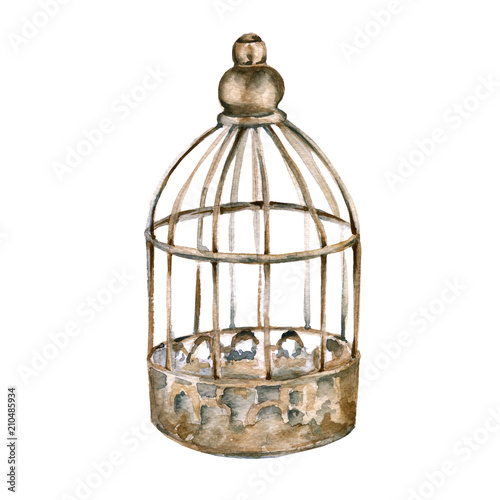 Obraz na plátne Vintage cage for the bird. isolated on white background.