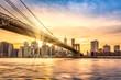 Sunset over Brooklyn Bridge in New York City
