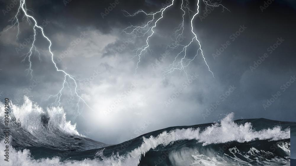 Fototapeta Stormy sea weather
