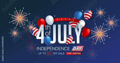 Obraz na płótnie Independence day USA sale promotion banner template american balloons flag and Colorful Fireworks decor