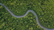 Leinwandbild Motiv Aerial view of forest road at South East Asia, Aerial view of a provincial road passing through a forest, Thailand.