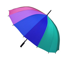 Rainbow Fashion Umbrella Pink Green Blue Purple Or Colorful And Black Handle For Rainproof Or Sunproof On Rainy Season And White Background Isolated Included Clipping Path