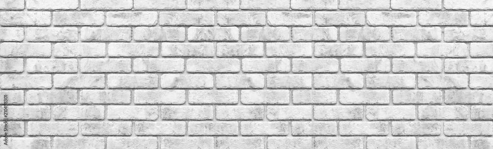 Fototapeta Panorama of White stone brick wall seamless background
