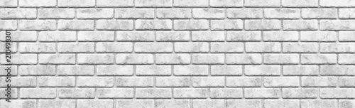 Panorama of White stone brick wall seamless background