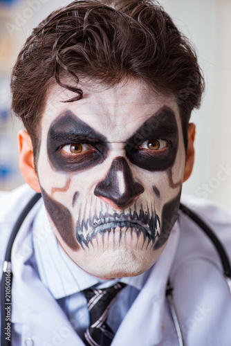 Fotografie, Obraz  Scary monster doctor working in lab