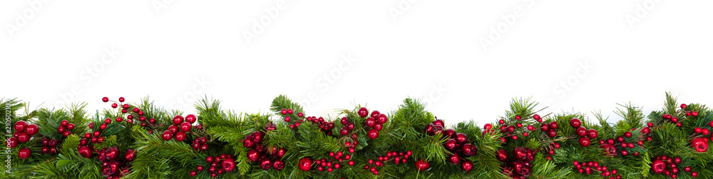 Fototapeta Christmas Garland Border with Red Berries Over White