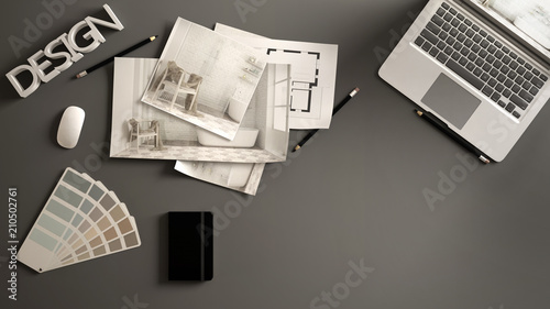 Architect designer concept, gray work desk with computer, paper draft, bedroom project images and blueprint. Sample color material palette, creative background idea with copy space