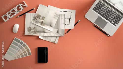 architect designer concept red work desk with computer paper draft
