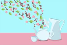 Musical Notes, Flower Petals A...