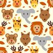 cute wild animal seamless pattern