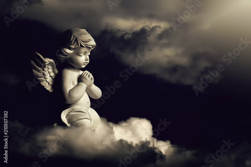 Guardian angel on the cloud Canvas Print