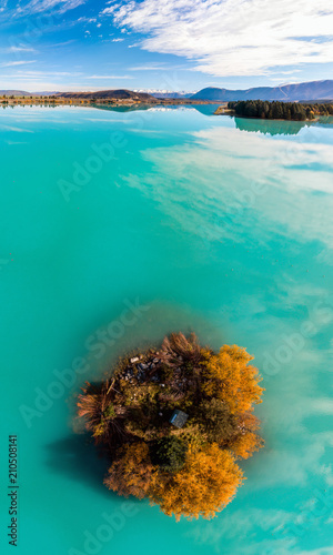 Poster Oceanië Panorama image of New Zealand south island lake view from the sky