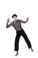 Young Mime Isolated On White B...