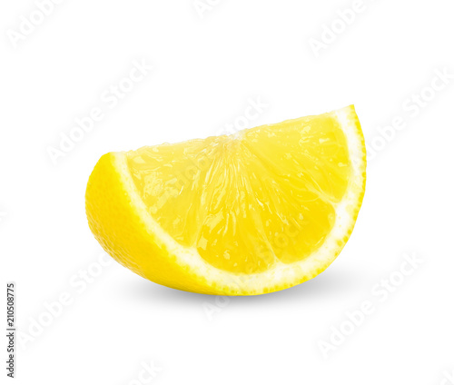 Slice lemon isolated on white clipping path Fototapeta