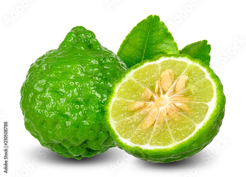 bergamot fruit  isolated on white clipping path Canvas Print