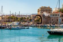 Boats In Heraklion Harbour, Crete, Greece