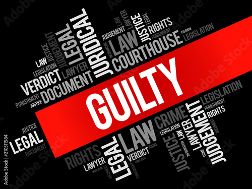 Guilty word cloud collage, law concept background Wallpaper Mural
