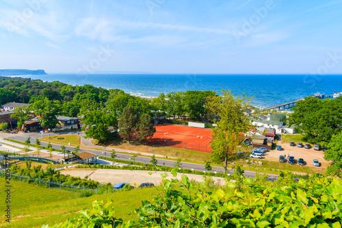 Foto op Canvas Klaprozen Panorama view of Goehren summer resort town and Baltic Sea coast, Ruegen island, Germany