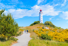 Path To Dornbush Lighthouse In Spring Landscape With Flowers On Northern Coast Of Hiddensee Island, Baltic Sea, Germany