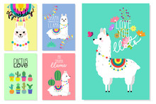 Cute Llamas, Alpacas And Cactus Illustrations For Nursery Design, Poster, Greeting, Birthday Card, Baby Shower Design And Party Decor